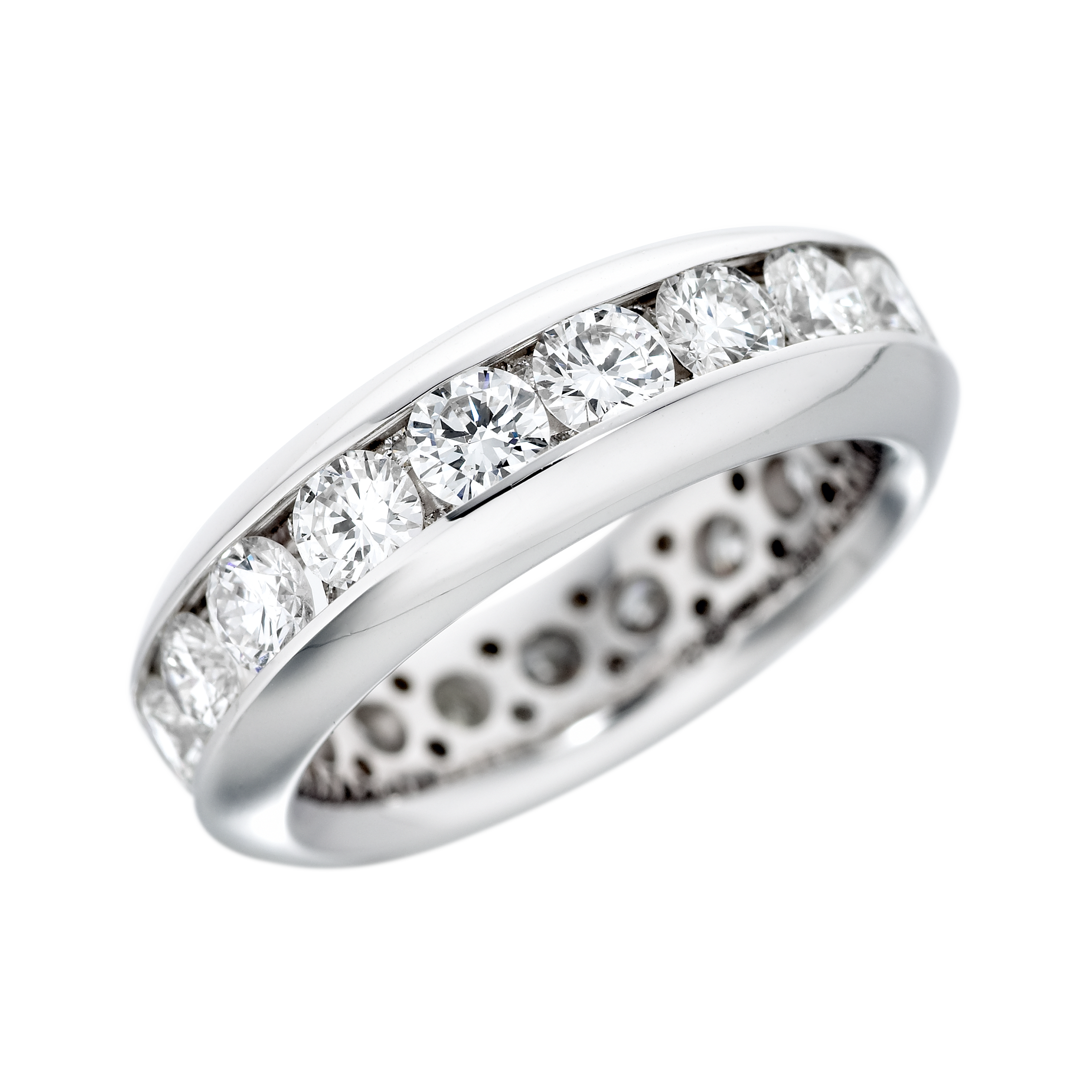 white image with round diamond eternity womens diamonds fourteen set channel gold ring rings