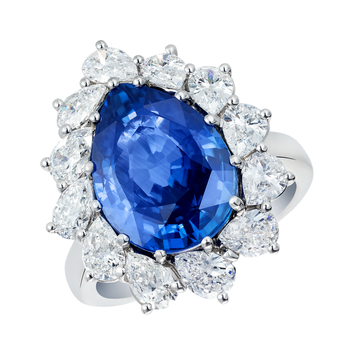 Pear Cut Blue Sapphire Princess Cocktail Ring